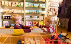 Two small boys playing with plastic animals in Castle Shop