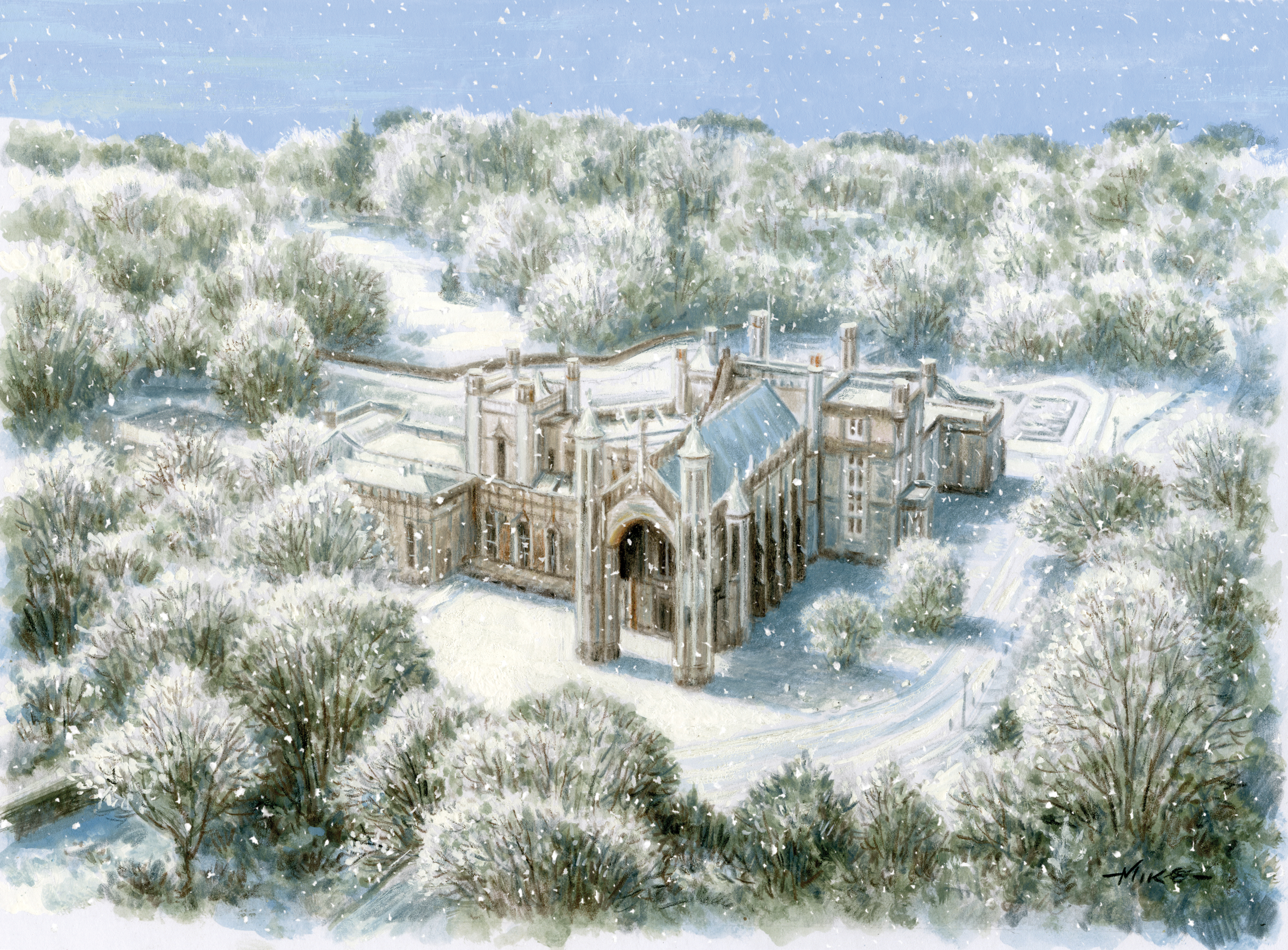 A artistic impression of Highcliffe Castle in the snow, as seen from an aerial view.