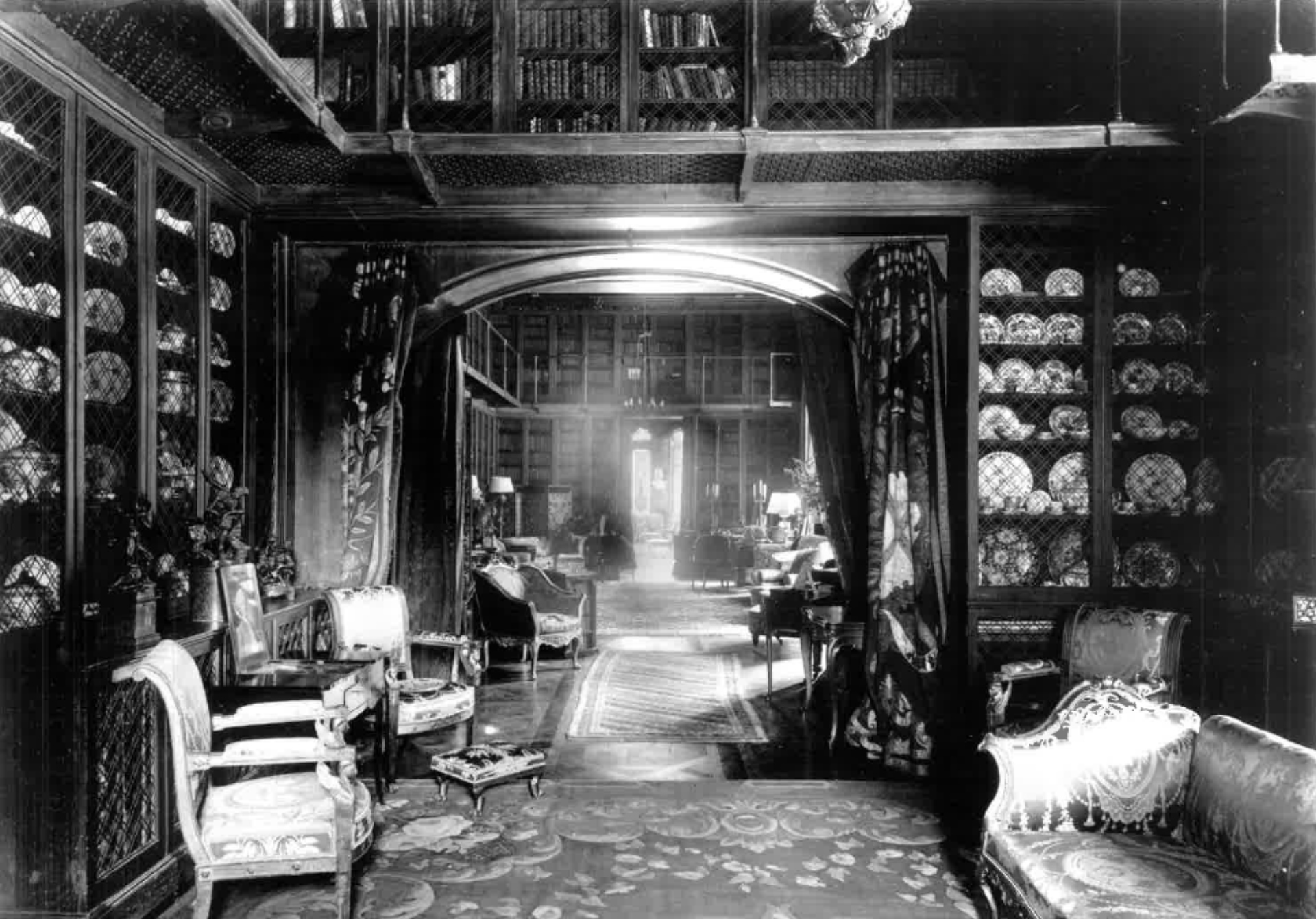 A black and white image from the Ian Stevenson Archive Trust of Highcliffe Castle Ante Library looking into the Library