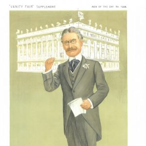 Vintage cartoon picture of Harry Gordon Selfridge in front of his Selfridge store