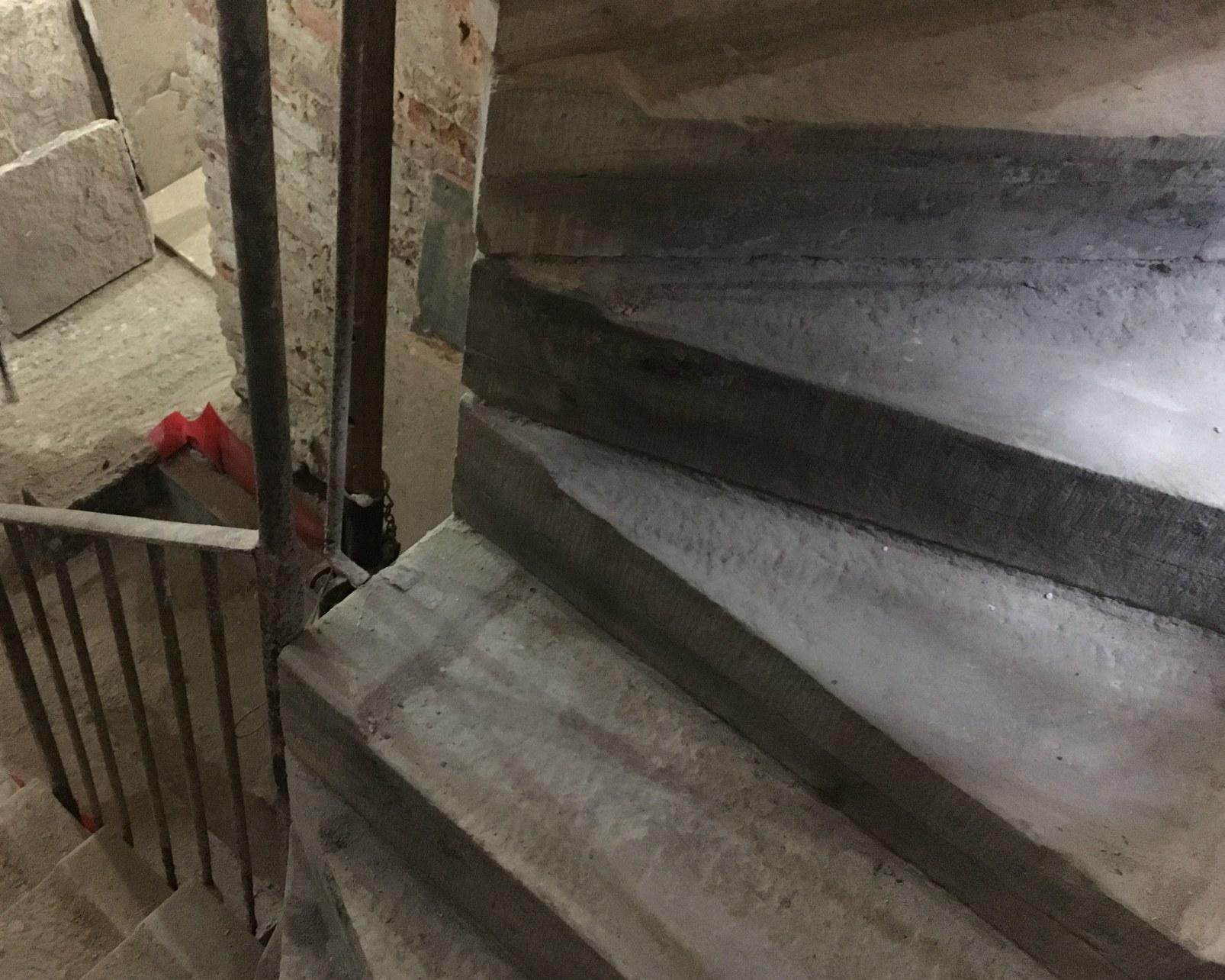 Newly restored spiral stair case steps.
