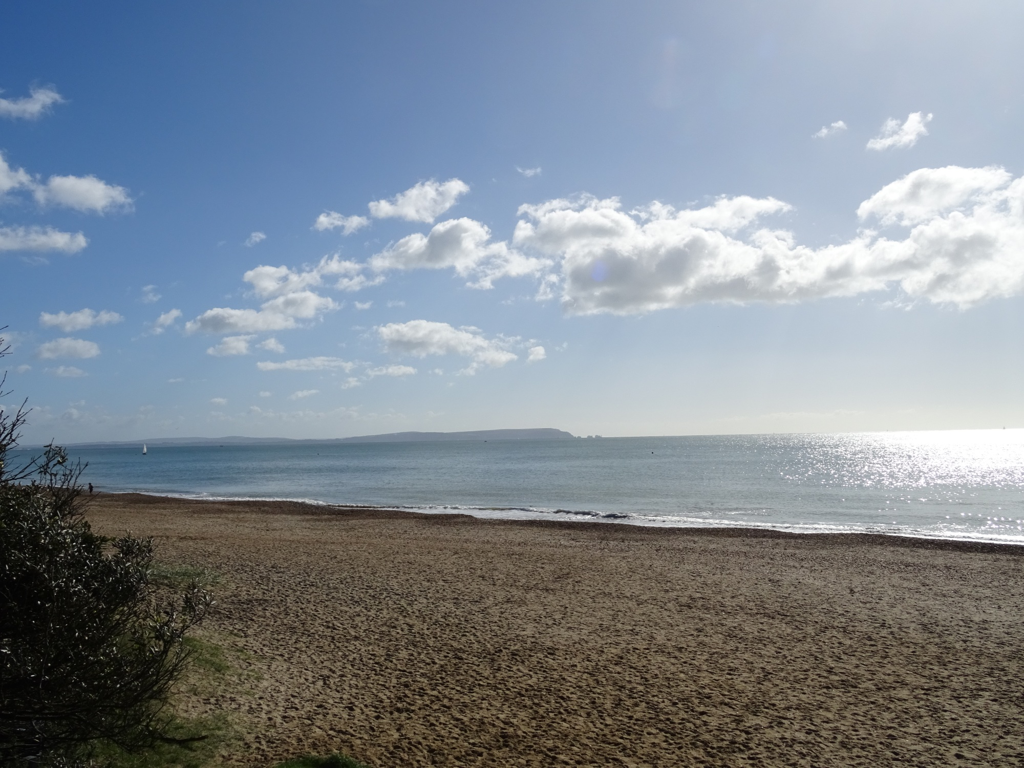 Highcliffe Beach with a view to the Isle of Wight