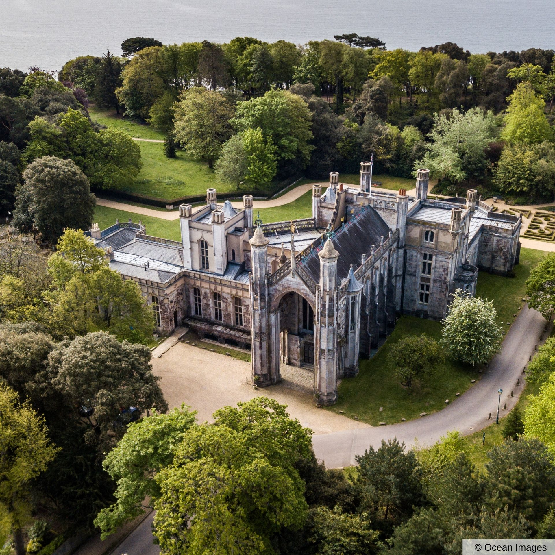 Aerial Shot of Highcliffe Castle and its beautiful green grounds