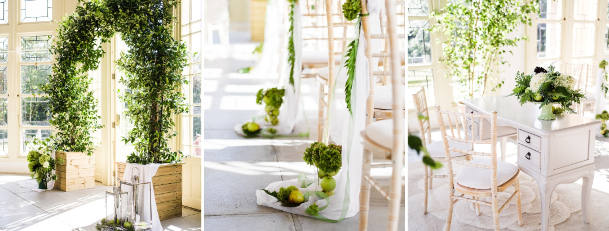 Floral and green wedding decorations of the Wintergarden at Highcliffe Castle