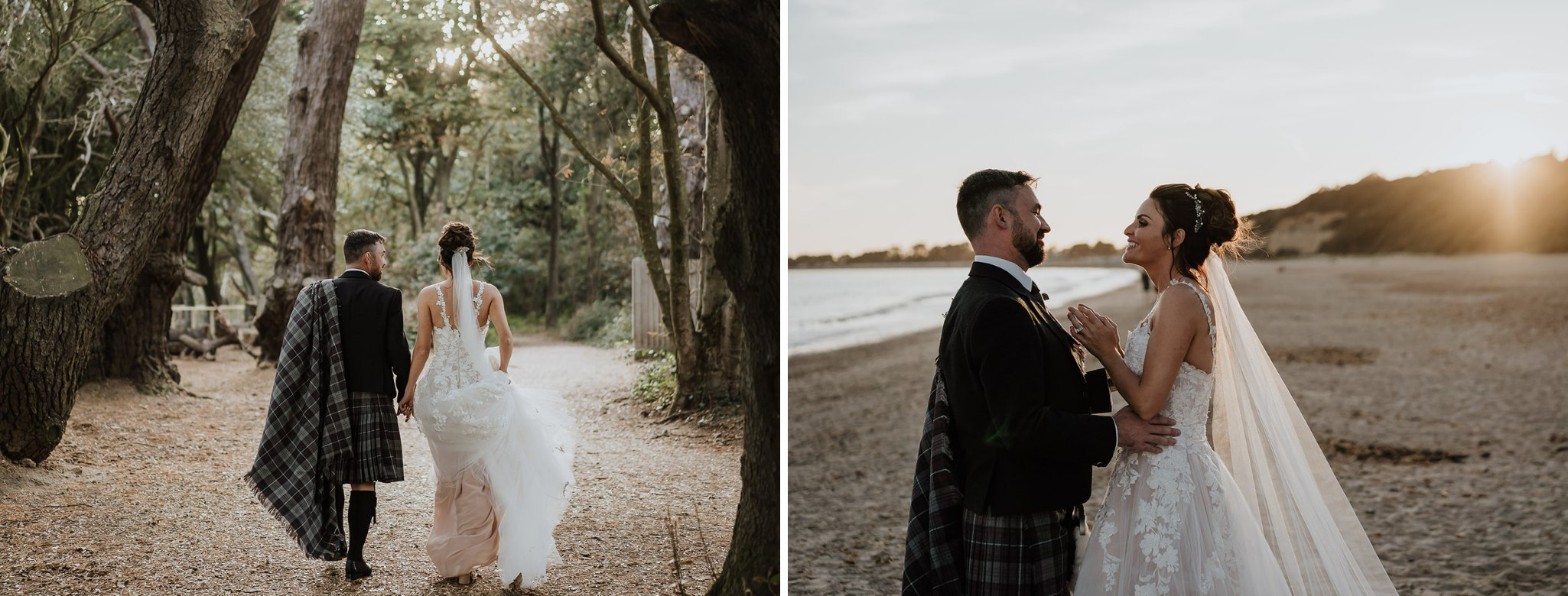 Wedding couples enjoying exploring the woodland area and beach at Highcliffe Castle