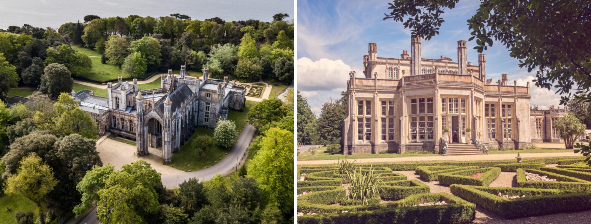 Aerial Shot of Highcliffe Castle and its beautiful green grounds, plus the Wintergardens with the green parterre are infront