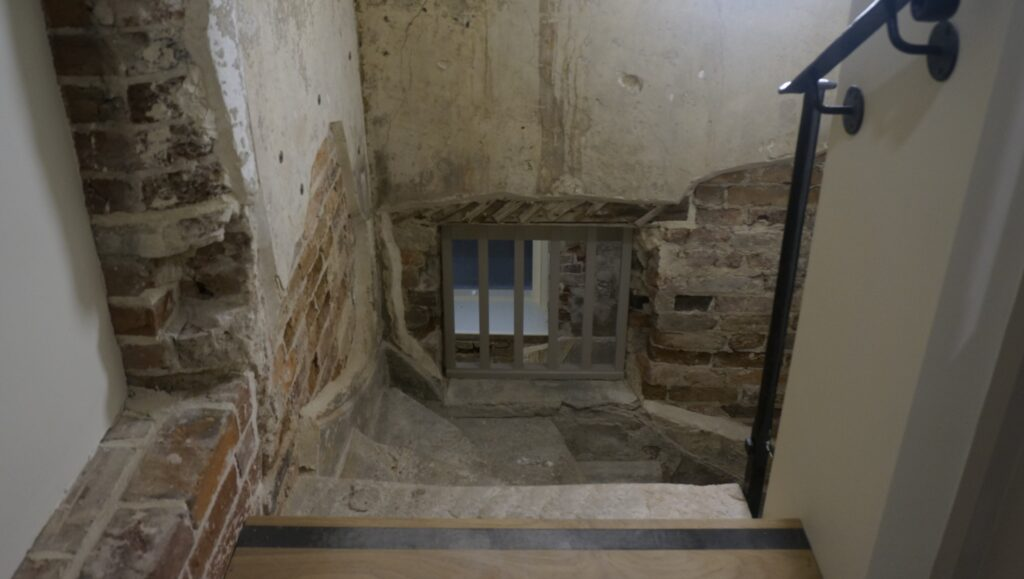 Looking down the old spiral servants' staircase