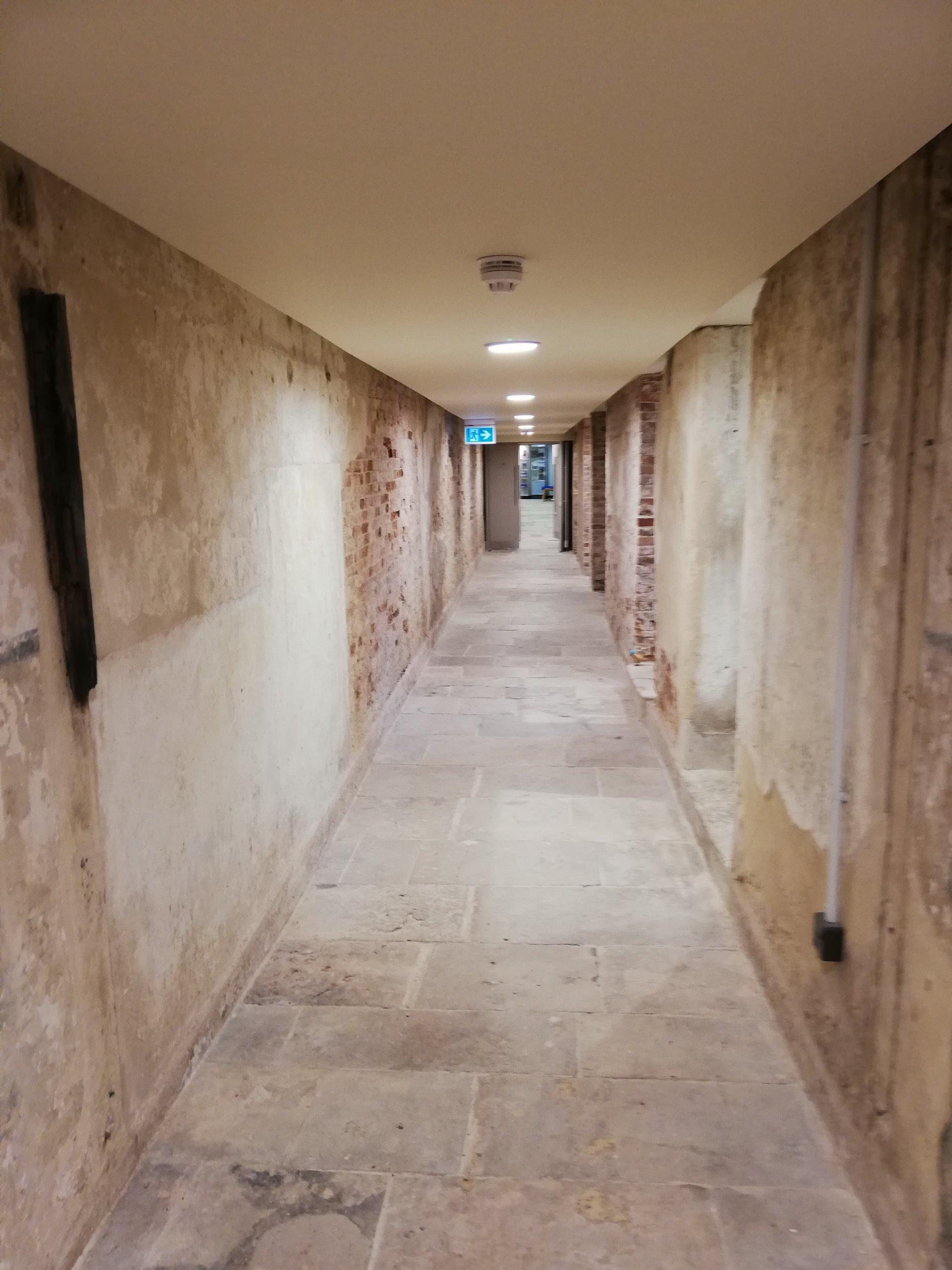 Spot the Duck - Dora hiding in the long stone basement corridor of Highcliffe Castle