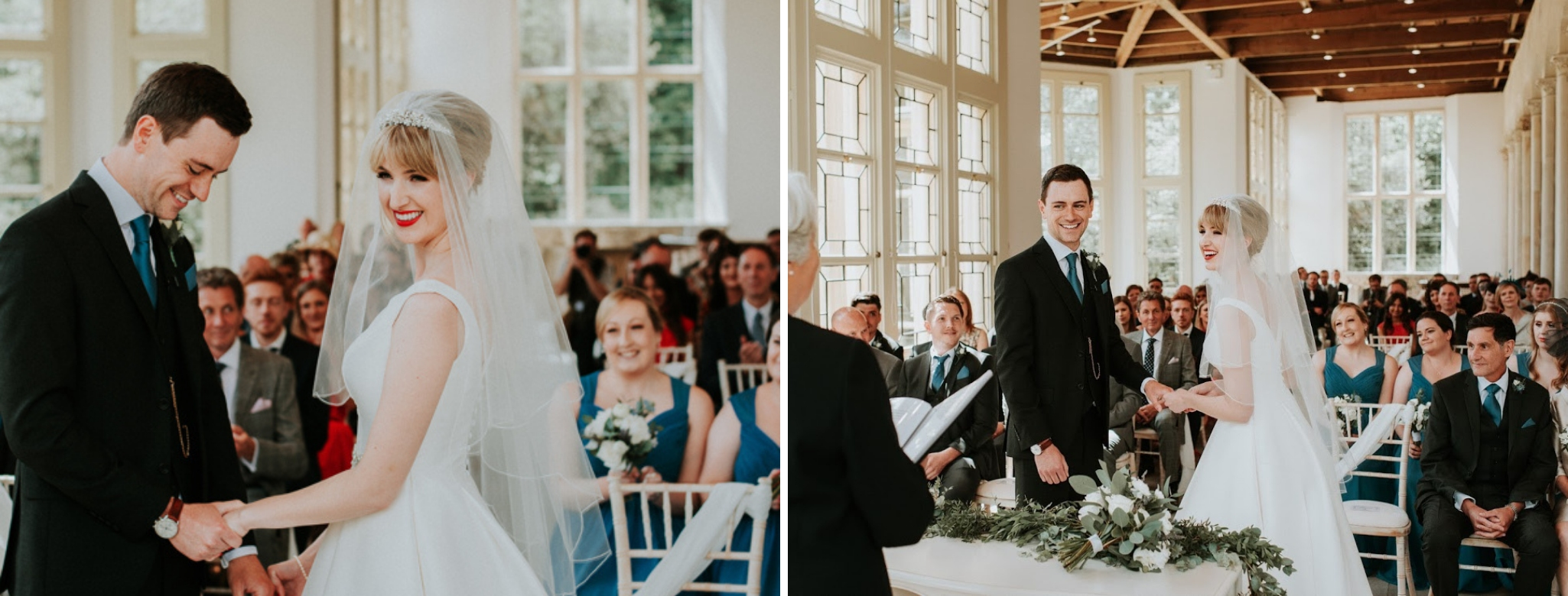Bride and Groom smiling and laughing during their wedding ceremony in the Wintergarden