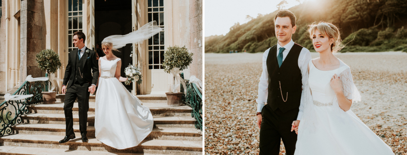 Bride and Groom exiting the Wintergarden. Bride and Groom walking along Highcliffe Beach.