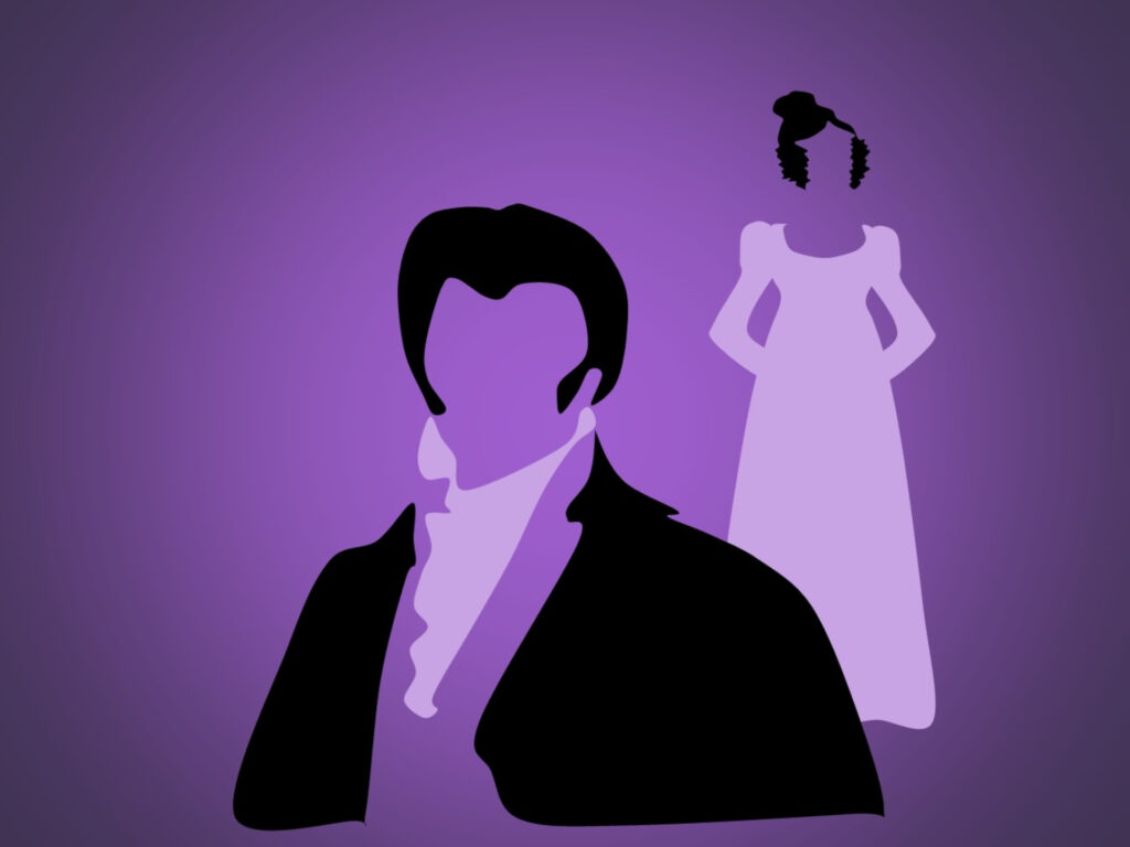 Cartoon depiction of the main characters of Pride and Prejudice to represent the outdoor theatre production at Highcliffe Castle in July 2021